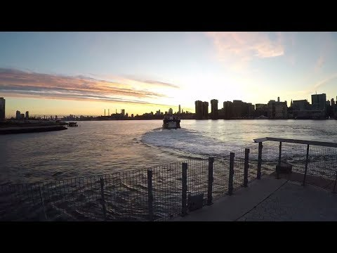 Cycling the Long Island City waterfront in NYC during a gorgeous winter sunset