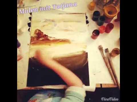 Mohnblume malen. Landschaft malen. Malkurs mit Tatiana Siekmann für Kinder.