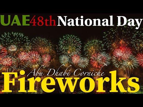 Amazing Fireworks at Abu Dhabi Corniche   United Arab Emirates 48th National Day 2019   UAE Holidays