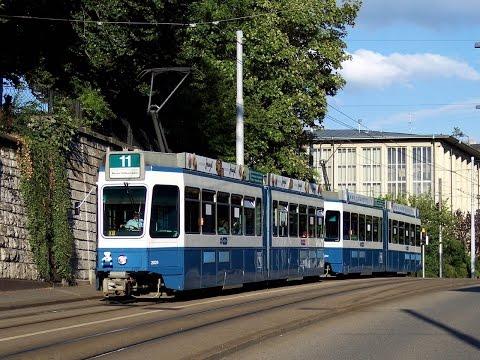 Trams in Zurich, Switzerland 2015