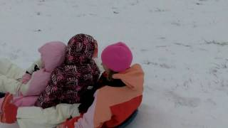 Hannah, Hadley, and Carlee Sledding down the Mansker Farms Bunny Slope Thumbnail