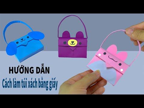 hướng dẫn làm túi giấy - Hướng dẫn gấp túi xách / Tự làm túi giấy / How to make a paper bag / Mĩ thuật sáng tạo