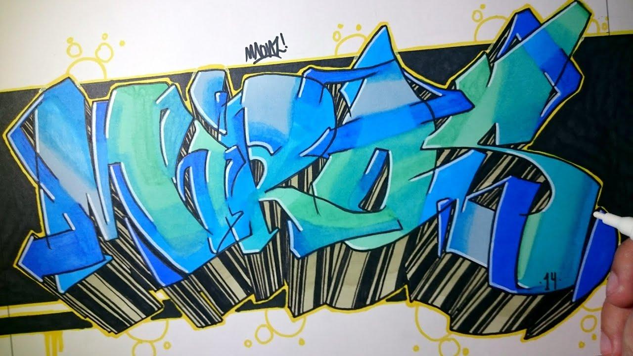 Graffiti en papel miros speed art youtube - Graffitis en papel ...