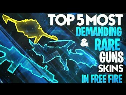 Top 5 rarest gun skin of Free Fire//Funny gameplay //op gameplay //free dj alok//top 5 rarest item