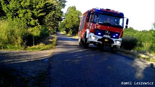 Dojazd zastępów OSP Lubojna do pożaru przy lesie
