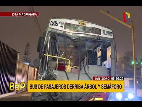 San Isidro: bus choca y derriba árbol y semáforo