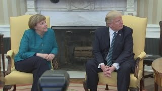 Awkward! Trump refuses to shake Merkel's hand in Oval Office