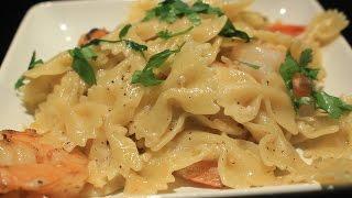 Easy ~ Garlic - Parmesan - Shrimp ~ Bowtie Pasta Recipe ~ Yummy!