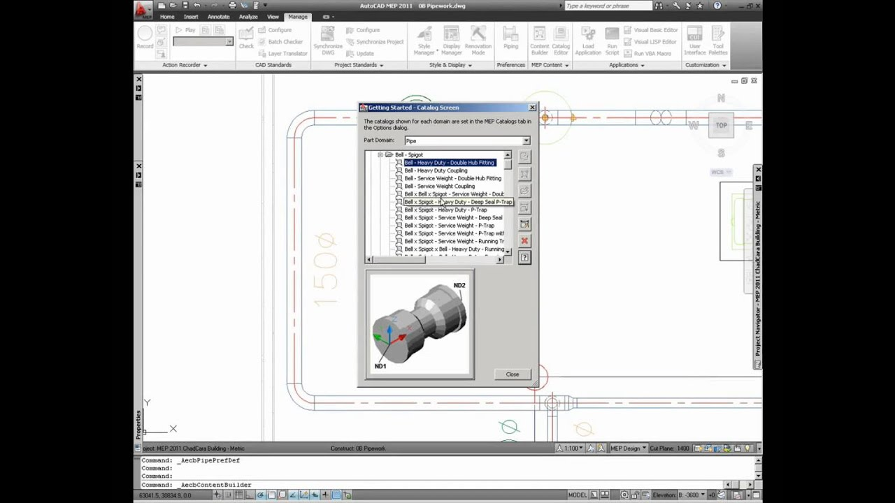 Pipe Content and Routing Preferences - AutoCAD MEP Autodesk 2014