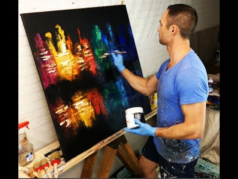 ABSTRACT PAINTING - CITY OF COLOR - PAINTING TIPS AND TECHNIQUES BY DRANITSIN