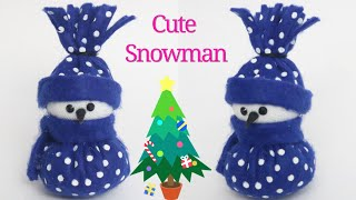 Cute Snowman|How to make snowman from felt sheet at home| Christmas home decorations| kids crafts