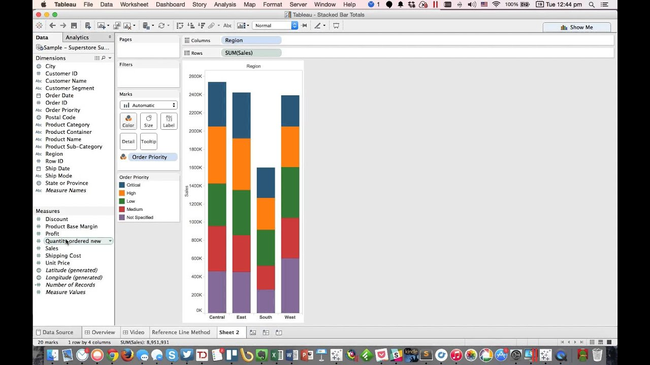 How to Label the Top of Stacked Bars in Tableau
