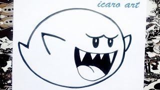 Como dibujar a boo de Mario bros | how to draw boo from mario