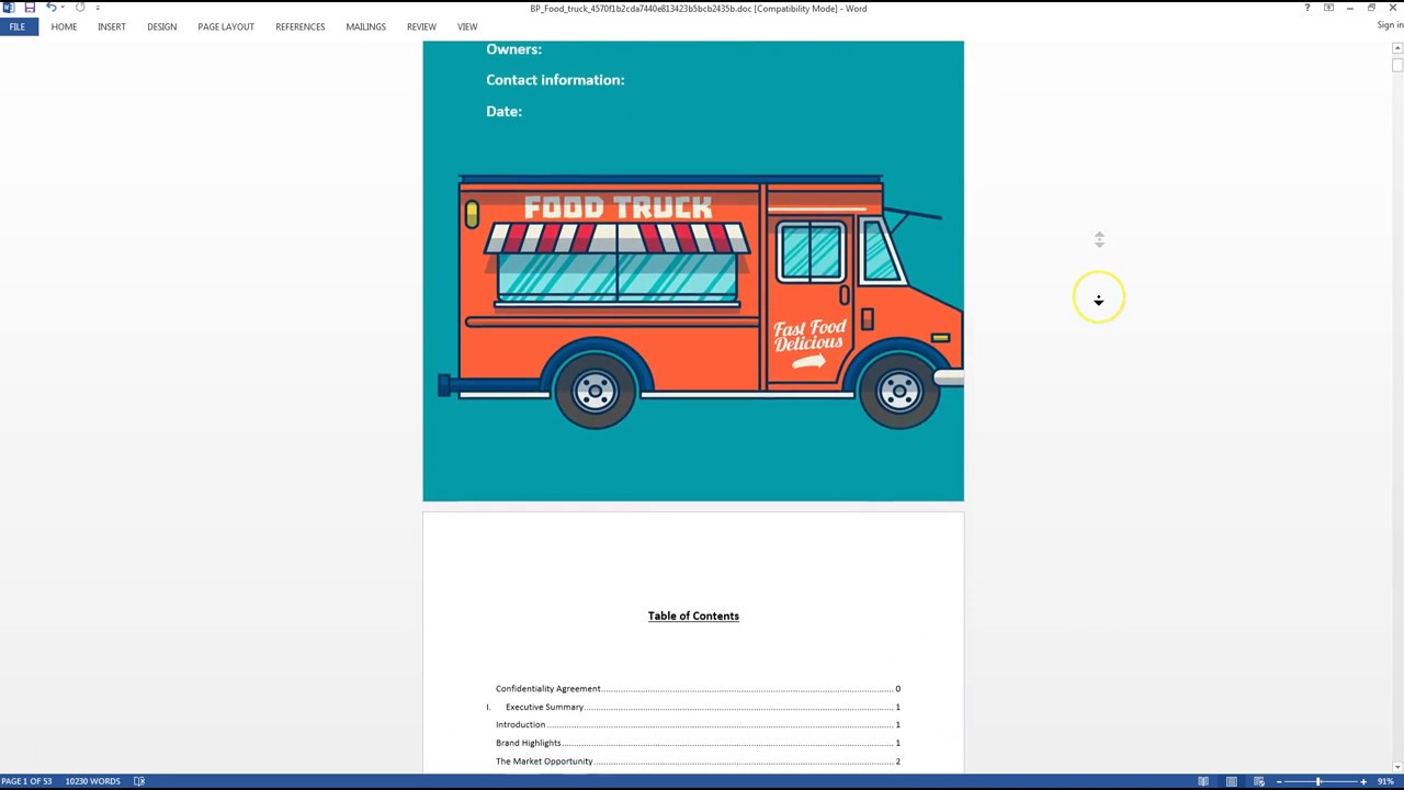 Food truck business plan template sample video youtube food truck business plan template sample video wajeb Image collections