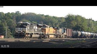 NS, BNSF & CSX pull a tanker train 4k