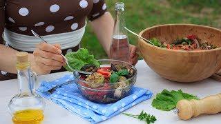 Летний салат гриль с баклажанами и кабачками. Салат с овощами-гриль