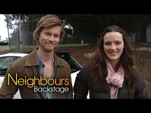 Tim Phillipps Daniel and Airlie Dodds Rain  Neighbours Backstage