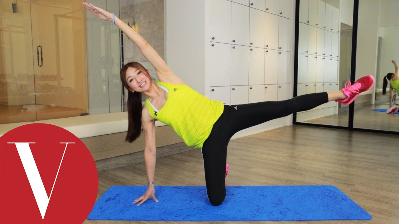 3招消除大腿外側馬鞍肉 Annie老師 VOGUE 健身教室 - YouTube