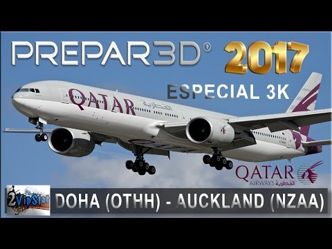 NOVO SIMULADOR DE VOO 2017 | B777 QATAR  | DOHA (OTHH) - AUCKLAND (NZAA) | IVAO