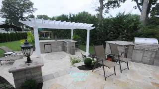 Raised Patio | Wood Pergola | Travertine Patio | Built-in Barbeque | Gappsi Long Island