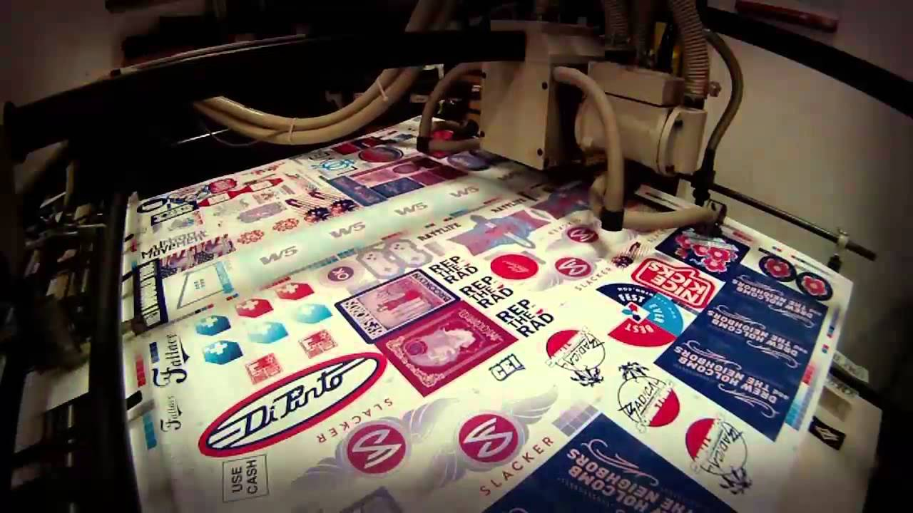 Stickerobot Silk Screen Sticker Printing Die Cut Stickers YouTube - Custom die cut vinyl stickers printing