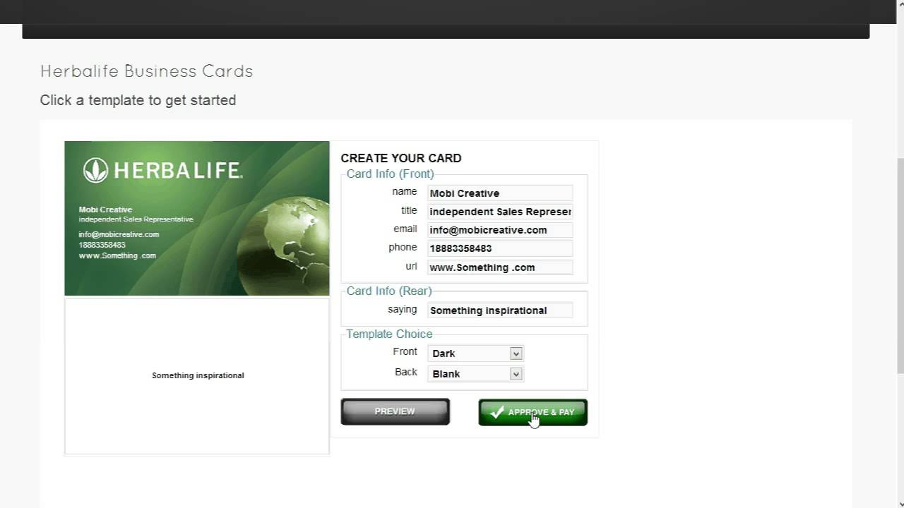 Herbalife Business Card Template Ordering - YouTube