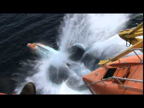 Lifeboat Launching from Drillship