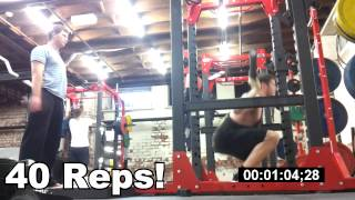 Squats - 40 Reps in a minute.