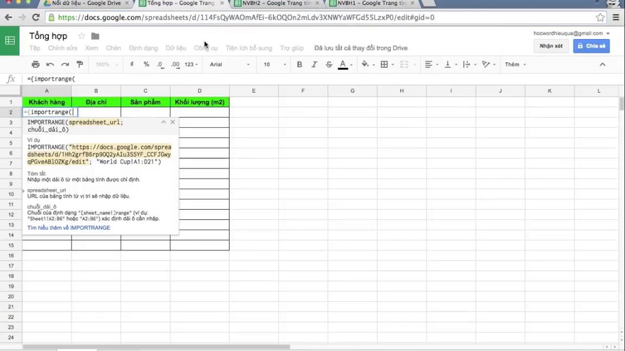 Cách nối dữ liệu từ các file khác nhau trong Google Sheet