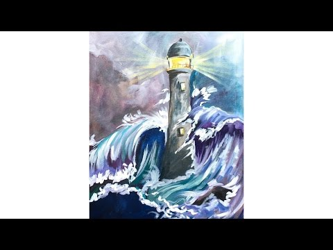 Stormy SEA and Lighthouse Step by Step Acrylic Painting on Canvas for Beginners