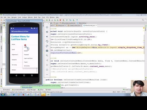 62 Displaying Context Menu In Android | Android App Development Tutorial Using Android Studio