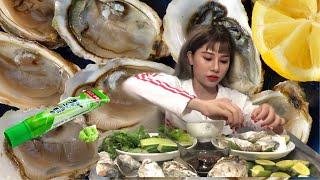 Nana Liu Thử Thách Ăn Hàu Sống Chấm Mù Tạt Thật khó Ăn