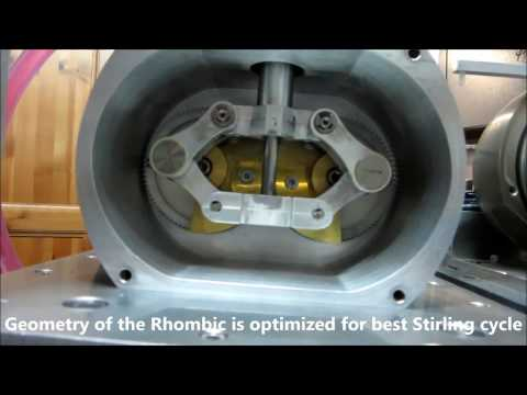 Rhombic Stirling engine disassembling, details and development