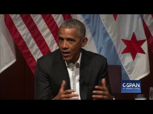 """Former President Obama: """"So, uh, what's been going on while I've been gone?"""" (C-SPAN)"""