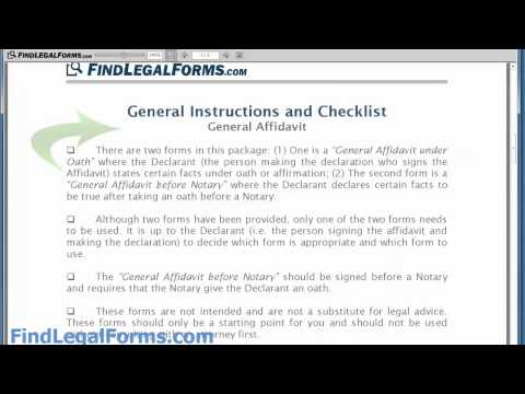 Sample General Affidavit Form - YouTube