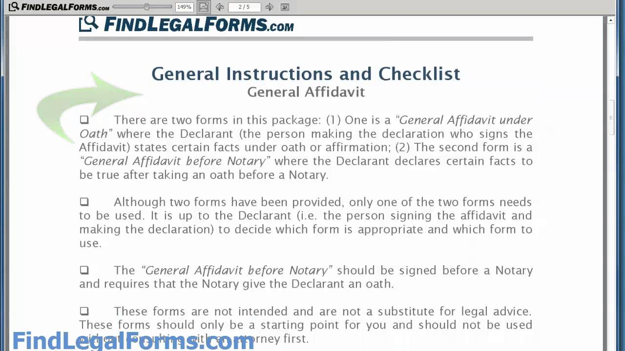 Sample General Affidavit Form