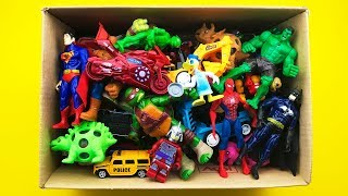 Box Full of Toys Cars, Marvel, Action Figures, Police Cars, Mickey Mouse TMNT Slime Dinosaurs Kids