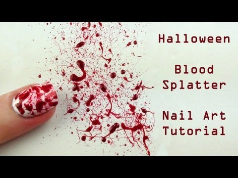 Blood Splatter Nail Art Tutorial - Halloween Nails thumbnail