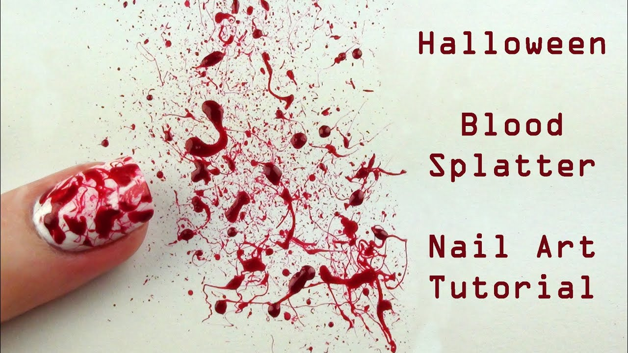 Blood splatter nail art tutorial halloween nails youtube prinsesfo Choice Image