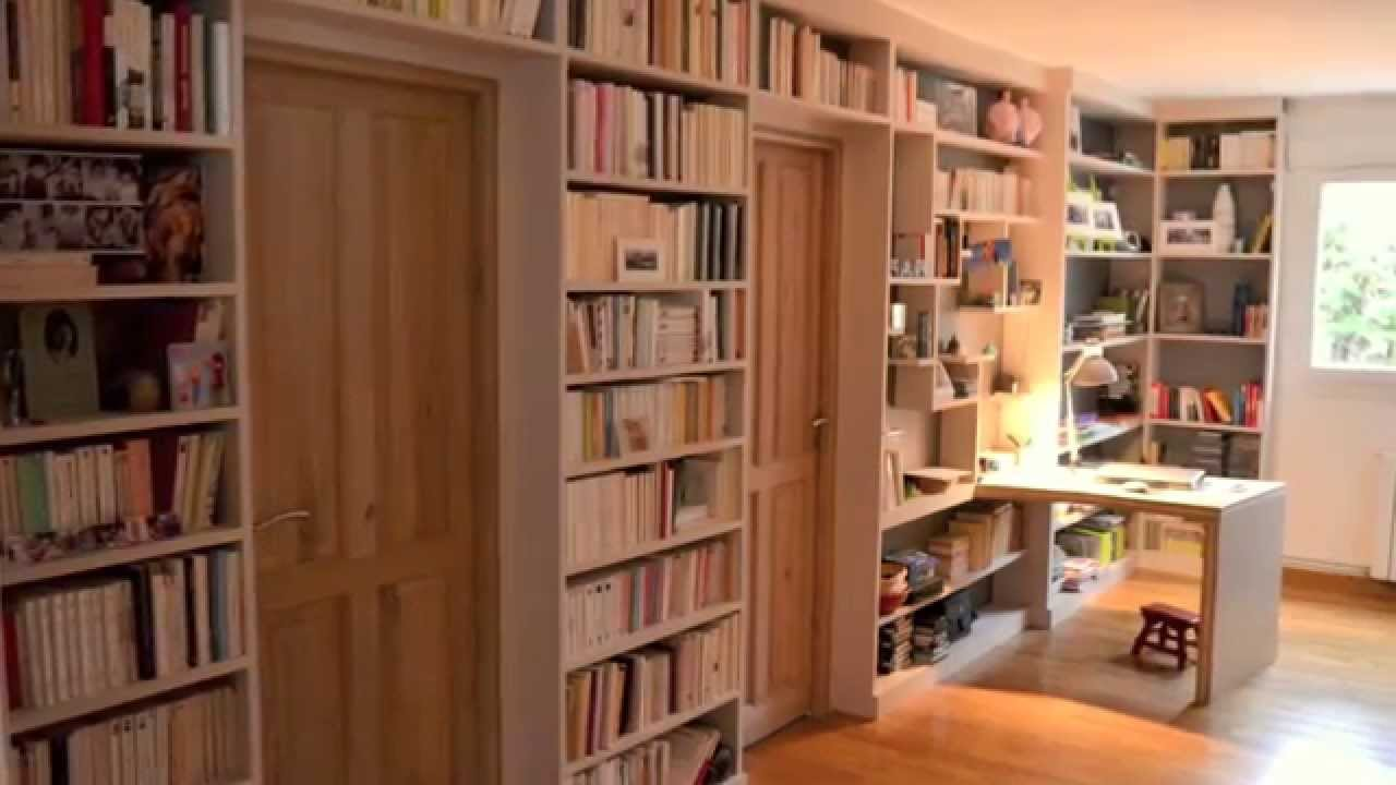 Biblioth que sur mesure dessin skechup et pose youtube - Model de bibliotheque en bois ...