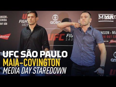 Demian Maia vs. Colby Covington UFC Media Day Staredown - MMA Fighting