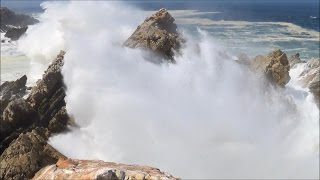 Video of big ocean waves crashing into rocks - HD 1080P