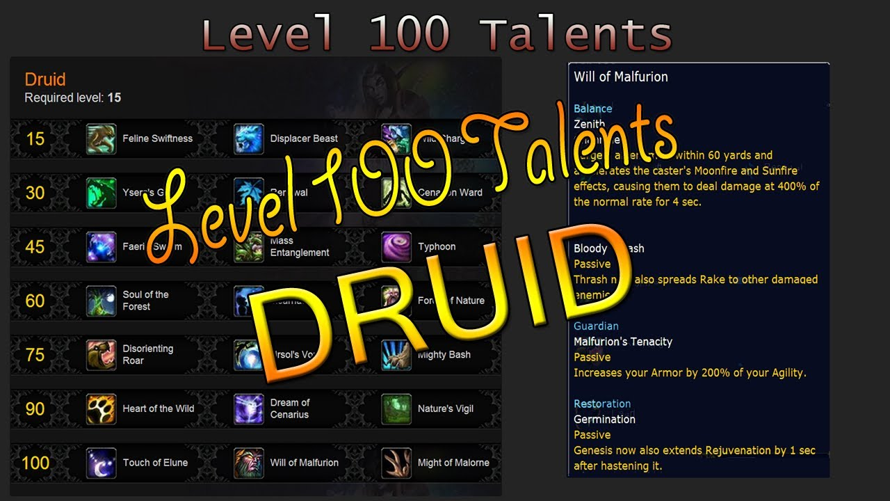 DRUID Talents Level 100 - Blizzcon 2013 [WoW] - Beso