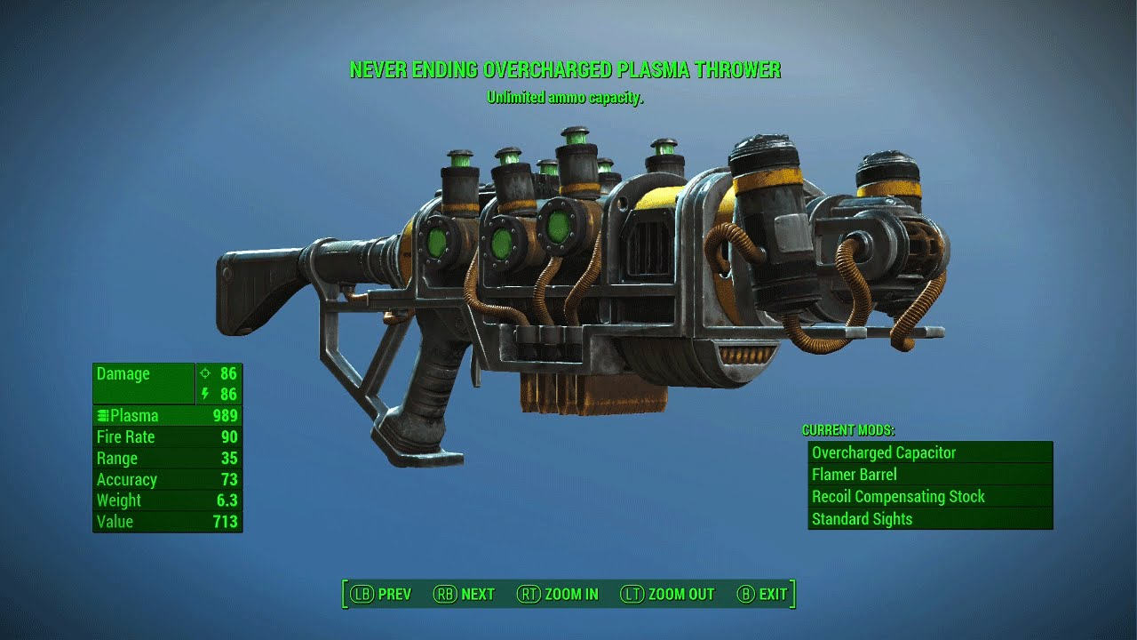 fallout 4 never ending plasma thrower rare legendary plasma rifle