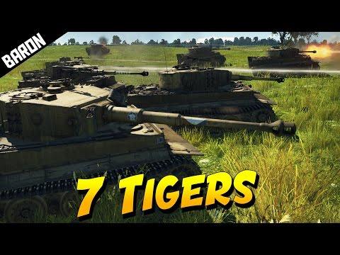 7 Tigers vs 25 Sherman Tanks (War Thunder Tanks Gameplay)