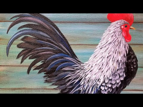 Rooster Acrylic Painting Tutorial LIVE Step by Step Beginner Lesson #yearoftherooster
