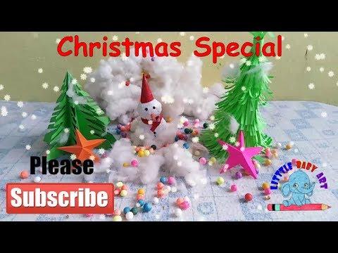Paper Christmas Tree | Easy Snowman Craft | Christmas craft idea  | Easy Christmas Star