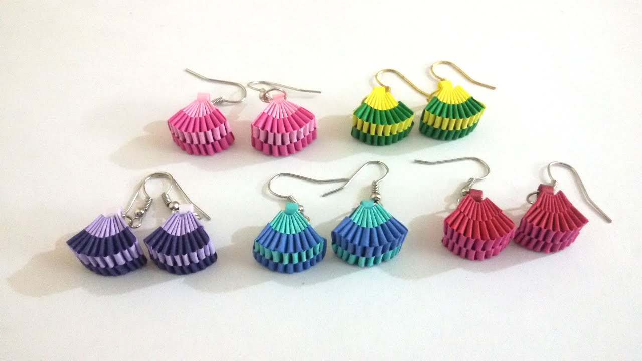 5. How to make Paper Weaving Fan Shape Earrings - YouTube for How To Make Quilling Shapes  131fsj