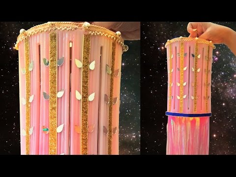 DIY Diwali Decoration Crafts : Make DIY Diwali Lantern from Drinking Straws | Diwali Lamp Making