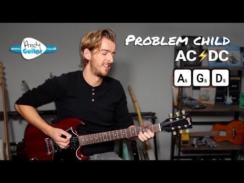 AC/DC Problem Child EASY Electric Guitar Lesson tutorial